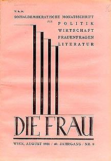 Die Frau (1924-1934), Nachfolgerin der Arbeiterinnen-Zeitung; Bild: Ariadne/ÖNB