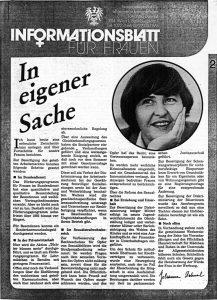 Informationsblatt für Frauen des Staatssekretariats für allgemeine Frauenfragen 1985