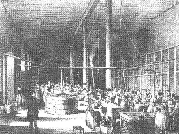 Fabrikarbeiterinnen in der Apollofabrik (1. Hälfte 19. Jhdt.) Bild aus: G. Hauch: Frau Biedermeier auf den Barrikaden. Wien 1990, S. 186