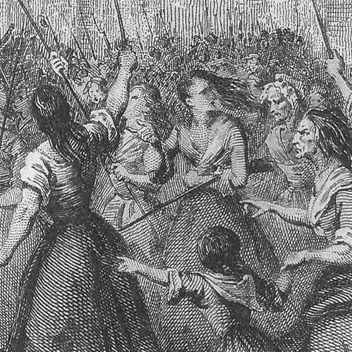 Französische Revolution 1789, Zug der Frauen nach Versaille, Ausschnitt Stahlstich gezeichnet von A. Scheffer, gestochen von A. Lefevre. 1836