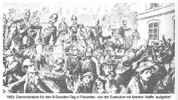 """1893: Demonstration für den 8-Stunden-Tag in Favoriten, von der Exekutive mit blanker Waffe """"aufgelöst"""" Bild aus: F. G. Kürbisch / R. Klucsarits (Hg.): Arbeiterinnen kämpfen um ihr Recht. Wuppertal 1981"""