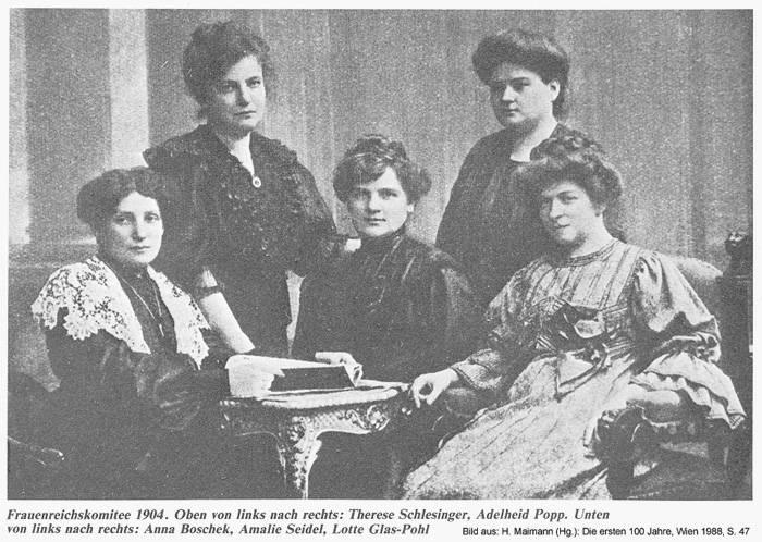 Frauenreichskomitee 1904: Therese Schlesinger, Adelheid Popp, Anna Boschek, Amalie Seidel, Lotte Glas-Pohl Bild aus: H. Maimann (Hg.): Die ersten 100 Jahre. Wien 1988, S. 47