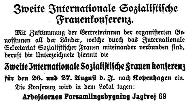 Aufruf von Clara Zetkin zur Internationalen Sozialistischen Frauenkonferenz in Kopenhagen 1910, Quelle: Bibliothek der Friedrich-Ebert-Stiftung