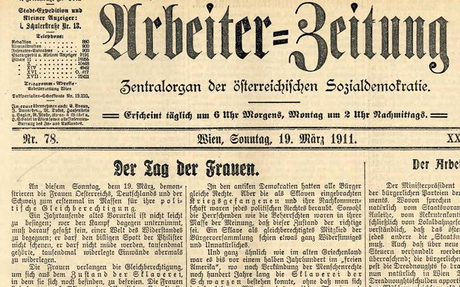 Arbeiter-Zeitung vom 19. März 1911, S.1
