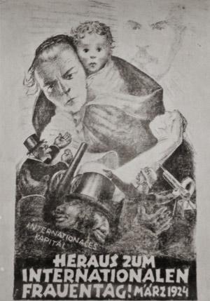 Plakat der Kommunistischen Partei Deutschlands zum Internationalen Frauentag 1924, Quelle: Wikimedia Commons