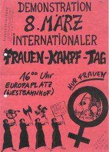 Flugblatt der autonomen Frauenbewegung zum Frauentag 1983; Quelle: Stichwort