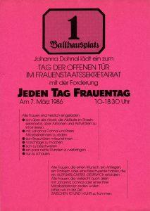 Frauentag 1986: Plakat des Frauenstaatssekretariates unter Johanna Dohnal