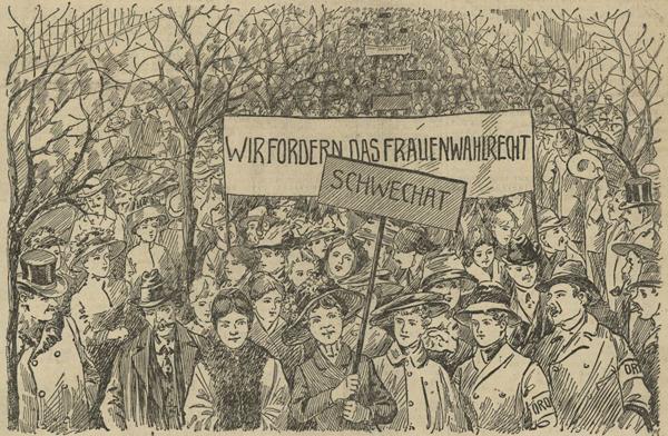 Frauentag 1911, in: Arbeiter-Zeitung, 20. März 1911, Nr. 79, S. 1 Bild: ÖNB