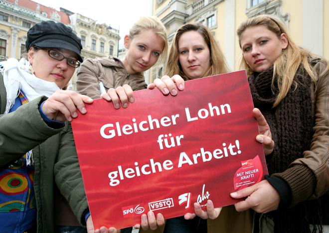 """""""Gleicher Lohn für gleiche Arbeit!"""" Aktion der SPÖ-Frauen gemeinsam mit den Jugendorganisationen für mehr Gleichstellung, 25.9.2008. Foto: SPÖ-Frauen/© Astrid Knie"""