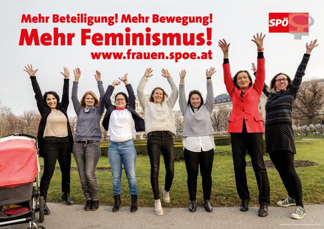 """""""Mehr Beteiligung! Mehr Bewegung! Mehr Feminismus!"""" Das Motto der SPÖ-Frauen 2018, Bild: SPÖ-Frauen"""