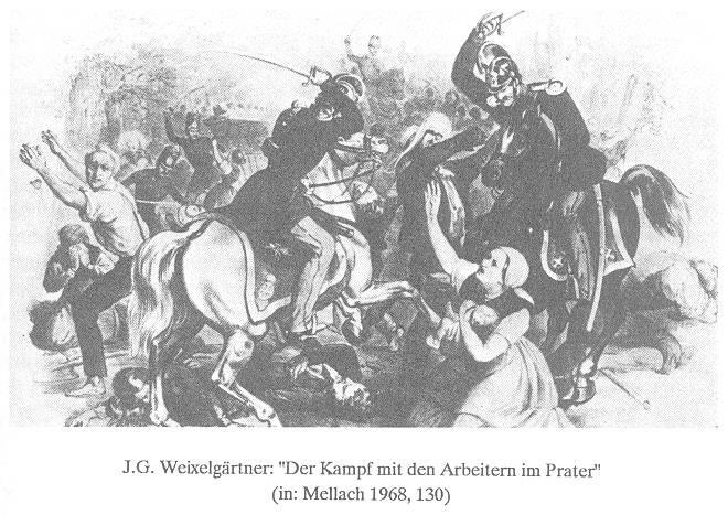Praterschlacht 1848: Das Militär eröffnet das Feuer auf die DemonstrantInnen, zahlreiche ArbeiterInnen werden niedergeschossen. Bild aus: G. Hauch: Frau Biedermeier auf den Barrikaden. Wien 1990, S. 209