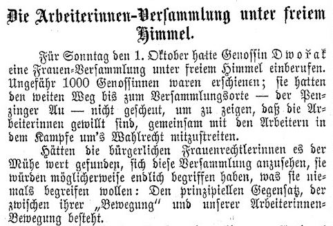 Die Arbeiterinnen-Versammlung unter freiem Himmel; aus: Arbeiterinnen-Zeitung, 2. Jg., Nr. 19, 6. Oktober 1893, Seite 6, Quelle: ÖNB