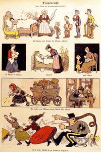 """Karikatur 1907: """"Frauenrecht (Zum Verbot des Frauenstimmrechtsvereines): Sie dürfen dem Staate die Bürger gebären, sie dürfen sie säugen, betreuen und lehren, sie dürfen wie Männer durch Arbeit sich nähren, doch wehe, sobald sie zu stimmen begehren."""" Bild: Stiftung Bruno-Kreisky-Archiv"""