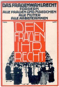 Postkarte zum Frauenwahlrecht aus dem Jahr 1913 von Marianne Saxl, Bild: VGA